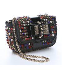 Christian Louboutin Black Leather 'Sweety Charity' Studded Shoulder Bag - Lyst
