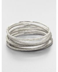 ABS By Allen Schwartz - Tritone Pavé Bangle Bracelet Set - Lyst