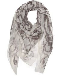 Alexander McQueen White and Gray Chiffon Birds and Thorns Scarf - Lyst