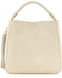 Ivanka Trump - Ostrich-Embossed Leather Hobo Bag - Lyst