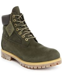 Timberland   6-inch Premium Green Leather Boots   Lyst