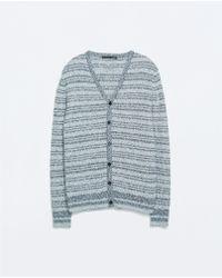 Zara Twist Knit Cardigan - Lyst
