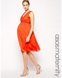 Asos Maternity Midi Dress With Twist Wrap - Lyst