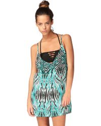 Volcom - Wild Marks Turquoise Playsuit - Lyst