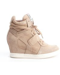 Ash Chamois Suede and Canvas Lace Up Wedge Heel Sneakers - Lyst