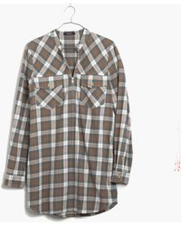 Madewell Zip-front Popover Tunic in Moss Point Plaid - Lyst