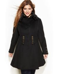 Betsey Johnson  Wool Blend Faux-fur Corset Flared Coat - Lyst