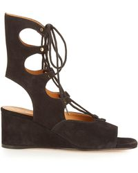 Chloé   Foster Lace-up Wedge Sandals   Lyst
