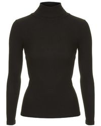Topshop Petite Long Sleeve Ribbed Polo Neck Top - Lyst