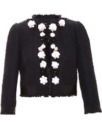 Giambattista Valli Tweed Jacket With Floral Embellishment - Lyst