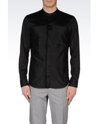 Emporio Armani Shirt in Chintzed Satin with Mandarin Collar - Lyst