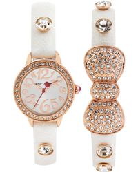 Betsey Johnson Womens Crystal Accent White Strap Watch Set 27mm -03 - Lyst