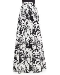 Carmen Marc Valvo - Floral-print Pleated Ball Skirt - Lyst
