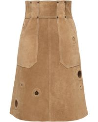 Bally - Suede Skirt In Peanut - Lyst