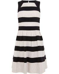 Karen Millen Graphic Stripe Lace Dress - Lyst