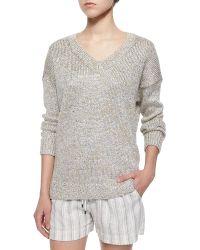 Vince Metallic V-Neck Sweater - Lyst