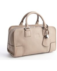 Loewe Ash Grey Leather Top Handle Handbag - Lyst
