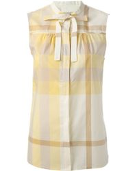 Burberry Brit Pussy Bow Check Blouse - Lyst