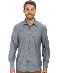 Perry Ellis Long Sleeve Printed Chambray Shirt - Lyst