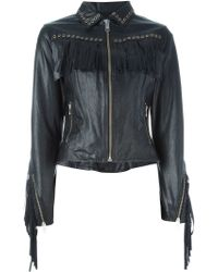 DIESEL | Fringed Leather Jacket | Lyst