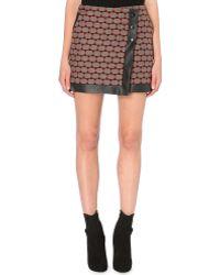 Karen Millen Geometric Wool-blend Skirt - Lyst