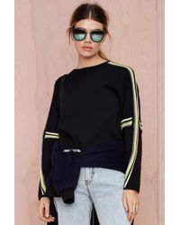 Nasty Gal Stripe Right Waffle Knit Sweater - Lyst