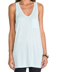 T By Alexander Wang Classic Tank with Pocket in Baby Blue - Lyst