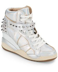 Ash Studded Leather Hightop Wedge Sneakers - Lyst