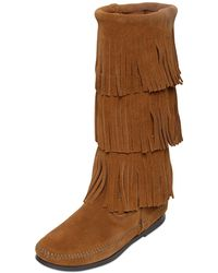 Minnetonka Layered Fringe Suede Boots brown - Lyst