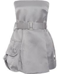 Marc Jacobs Putty Silk Satin Twill Strapless Dress - Lyst