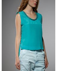 Patrizia Pepe Vest Top In Silk With Appliqué Detailing - Lyst