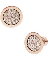 Michael Kors Rose Gold-Tone Pave Slice Stud Earrings - Lyst