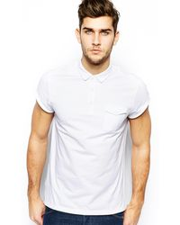 Asos Polo with Roll Sleeve and Pocket - Lyst