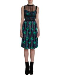Christopher Kane Sheer Yoke Floral Dress - Lyst