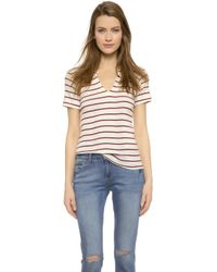 Edith A. Miller Henley Short Sleeve Tee - Nat/Red/Blue Stacked Stripe - Lyst