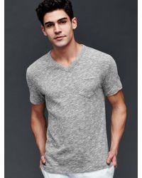 Gap - Heathered Slub V-neck T-shirt - Lyst