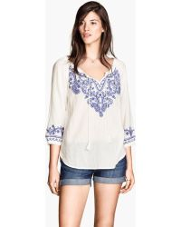 H&M Bohemian Embroidered Blouse - Lyst