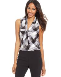 Nine West Sleeveless Plaid Tie-front Blouse - Lyst