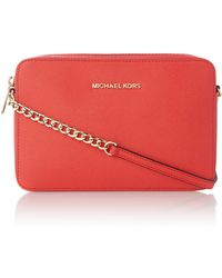 Michael Kors Jet Set Travel Small Red Cross Body Bag - Lyst