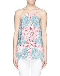 Stella McCartney 'Cohen' Cloud Appliqué Silk Crepe Camisole multicolor - Lyst