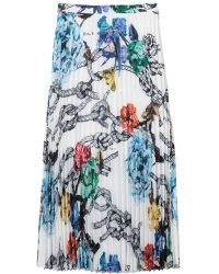 Tibi Tattoo Printed Sunray Pleated Skirt - Lyst