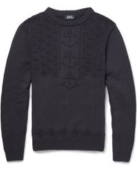 A.P.C. Anchor-Knitted Cotton Sweater - Lyst