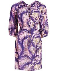 Matthew Williamson Beach Palm Gathered Smock Dress - Lyst