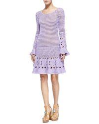Michael Kors Long-Sleeve Floral Hand-Crocheted Dress - Lyst