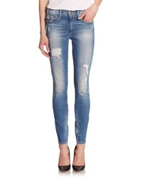 True Religion Halle Distressed Mid-Rise Skinny Jeans blue - Lyst