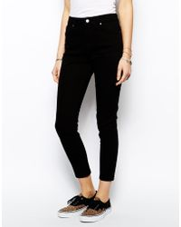 Asos High Waisted Cropped Stretch Skinny Pants - Lyst