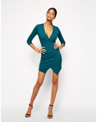 Tfnc Wrap Dress with Asymmetric Skirt - Lyst