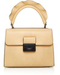 Paule Ka - Leather Ruffled Top Handle Bag - Lyst