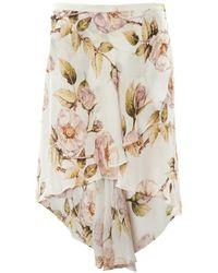 Haute Hippie Thorn Floral-Print Asymmetric Skirt - Lyst