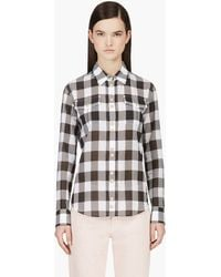 Balmain White and Black Snap Front Check Blouse - Lyst